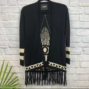 Lira All Seeing Eye Black Fringe Wrap Sweater